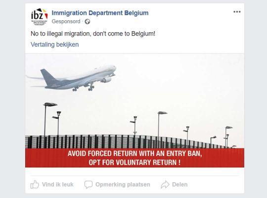 Facebook-campagne via de pagina 'Immigration Department Belgium'